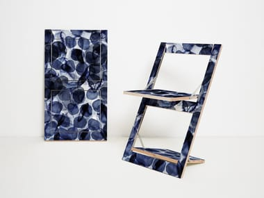 Folding open back plywood chair FLÄPPS FOLDING CHAIR - BUBBLES INDIGO