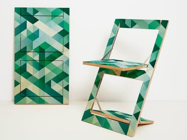 Folding open back plywood chair FLÄPPS FOLDING CHAIR - CRISS CROSS GREEN