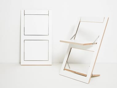 Open back folding plywood chair FLÄPPS FOLDING CHAIR - WHITE