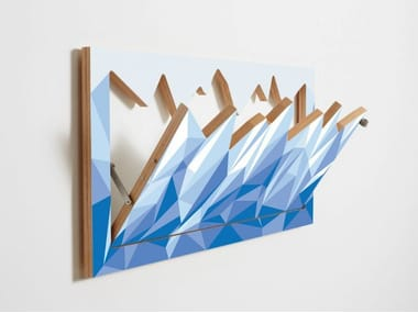 Wall-mounted plywood coat rack FLÄPPS HILLHÄNG - ICEBERG