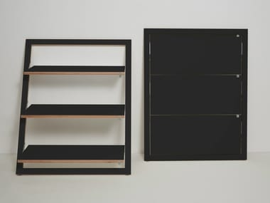 Lacquered plywood shelving unit FLÄPPS LEANINGSHELF - BLACK