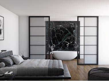 Wood and glass sliding door FLAT F5 TOTAL BLACK | Sliding door