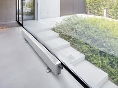 Horizontal floor-standing steel decorative radiator FLAT-PLINT-LINE