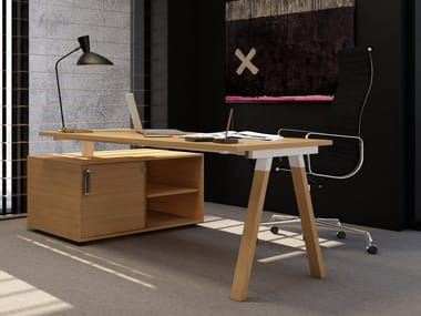 Rectangular office desk with shelves FLEXIDO | Office desk