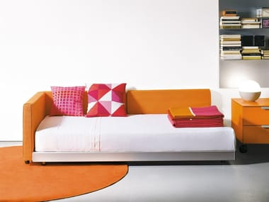 Fabric bed single bed with upholstered headboard FLIPPER | Bed single bed