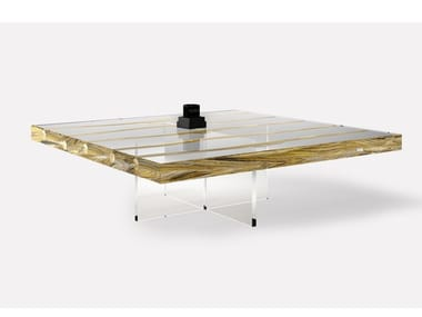 Square wood and glass coffee table FLOATING LIANA | Coffee table