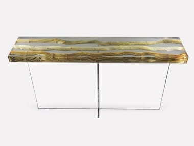 Rectangular wood and glass console table FLOATING LIANA | Console table
