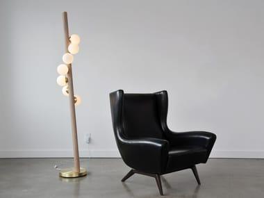 Lampada da terra a LED in legno e vetro WILLOW | Lampada da terra