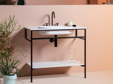 Console with integrated oval washbasin in Cristalplant® RISE | Floor-standing console sink