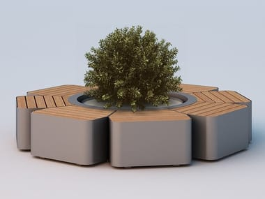 Round Bench with Integrated Planter FLORA BIG