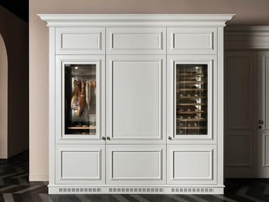 Wooden wine cooler with glass door FLORAL | Wine cooler