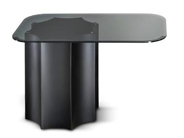 Tavolino alto rettangolare in acciaio e vetro FLORIO   Tavolino alto