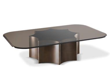 Tavolino basso rettangolare in acciaio e vetro FLORIO   Tavolino basso
