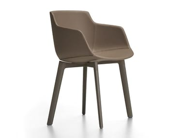 Upholstered leather chair with armrests FLOW LEATHER   Chair with armrests