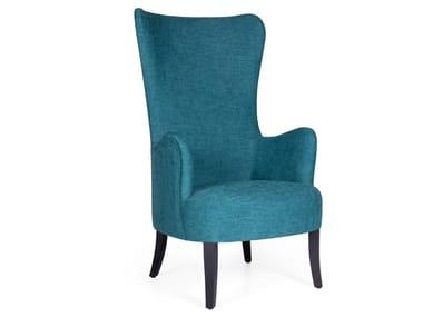 High-back fabric armchair FLOWER LOUNGE HIGH