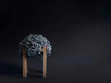 Wooden stool FLOWER POUFFE STOOL