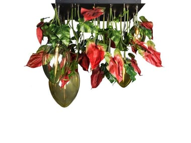 LED crystal ceiling lamp FLOWER POWER ANTHURIUM RED EGGS