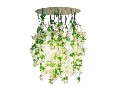 LED Murano glass ceiling lamp FLOWER POWER CASCADES ROUND