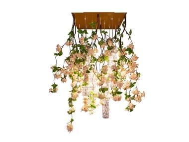 LED Murano glass ceiling lamp FLOWER POWER CASCADES SQUARE