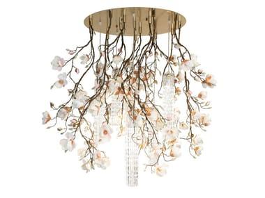 LED Murano glass ceiling lamp FLOWER POWER MAGNOLIA ROUND
