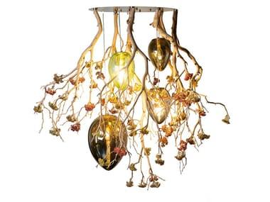 LED crystal ceiling lamp FLOWER POWER MANZANITA EGGS