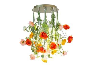 LED Murano glass ceiling lamp FLOWER POWER NEW POPPY ROUND
