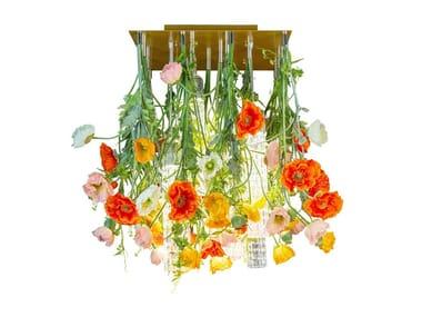 LED Murano glass ceiling lamp FLOWER POWER NEW POPPY SQUARE