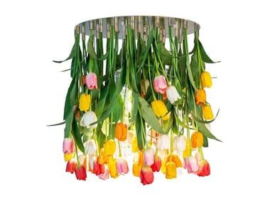 LED Murano glass ceiling lamp FLOWER POWER TULIP ROUND