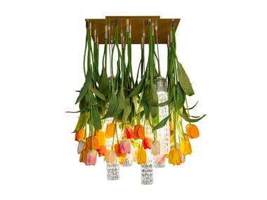 LED Murano glass ceiling lamp FLOWER POWER TULIP SQUARE