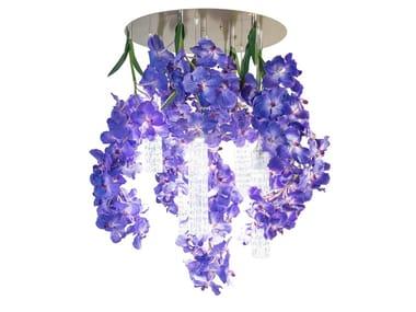 LED Murano glass ceiling lamp FLOWER POWER VANDA ROUND