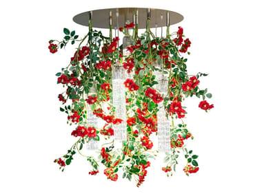 LED Murano glass ceiling lamp FLOWER POWER WILD RED ROSES ROUND