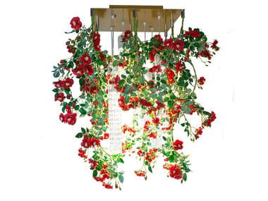 LED Murano glass ceiling lamp FLOWER POWER WILD RED ROSES SQUARE