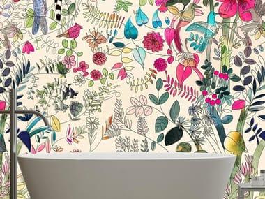 Papel de parede adesivo lavável estável aos raios UV de tecido estilo moderno FLOWERS & NATURE