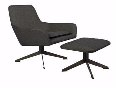 Drehbarer Sessel aus Stoff mit Fußschemel FLOYD | Sessel mit Fußschemel