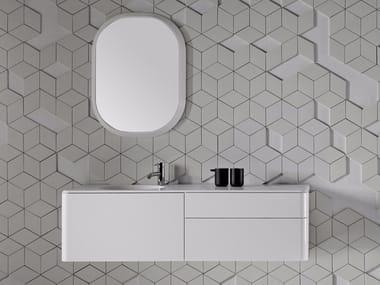 Mueble bajo lavabo lacado suspendido con cajones FLUENT | Mueble bajo lavabo