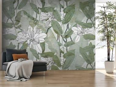 Washable wallpaper with floral pattern FOGLIE INTONACO