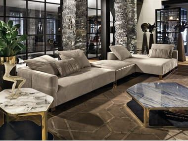 Modular leather sofa with chaise longue FOLD | Modular sofa