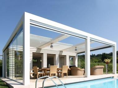 Freestanding aluminium pergola with folding louvers FOLD | Freestanding pergola