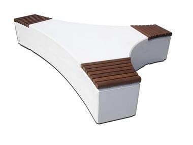 Panchina modulare in calcestruzzo con seduta in legno FOLIA WOOD