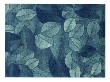 Rectangular recycled material rug FOLIAGE BLUE DUSK