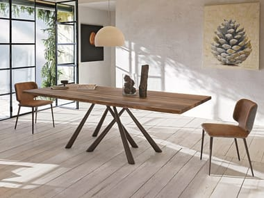 Rectangular solid wood table FOREST | Wooden table