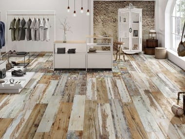 Indoor/outdoor wall/floor tiles with wood effect UNIQUE