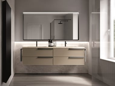 Lacquered wall-mounted vanity unit with drawers FORM 05