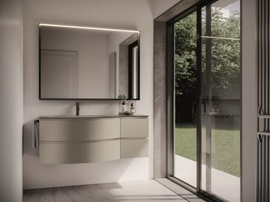 Lacquered wall-mounted vanity unit with drawers FORM 08