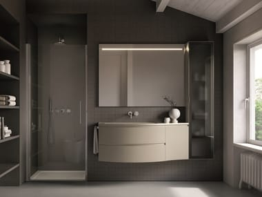 Lacquered wall-mounted vanity unit with drawers FORM 04