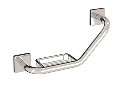 Brass grab bar with soap holder FORUM QUADRA | Grab bar with soap holder