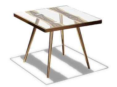 Contemporary style glass high side table for living room FOSSILE