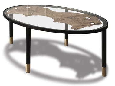 Contemporary style low glass coffee table for living room FOSSILE | Oval coffee table