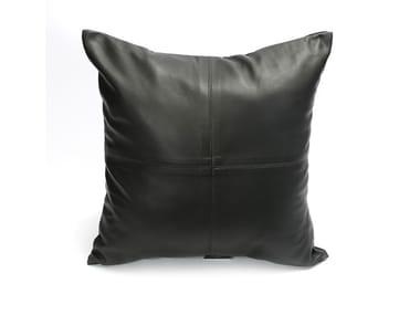 Square leather cushion FOUR PANEL
