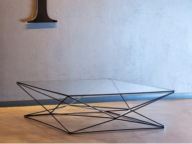 Low square glass and steel coffee table FOXHOLE